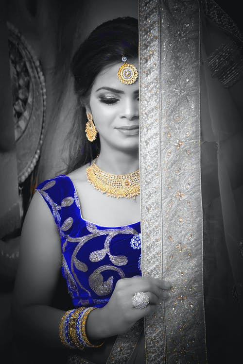 Free stock photo of back and blue, bridal, dark skinned model