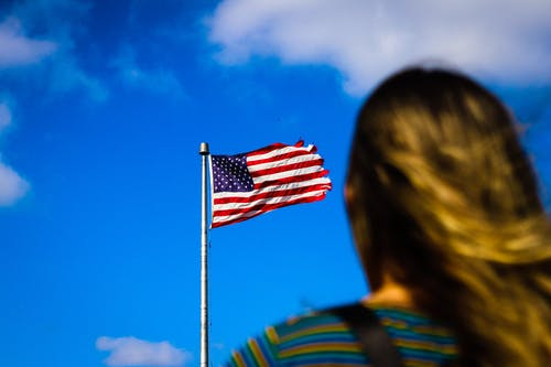 Free stock photo of america, American flag, blue, clouds