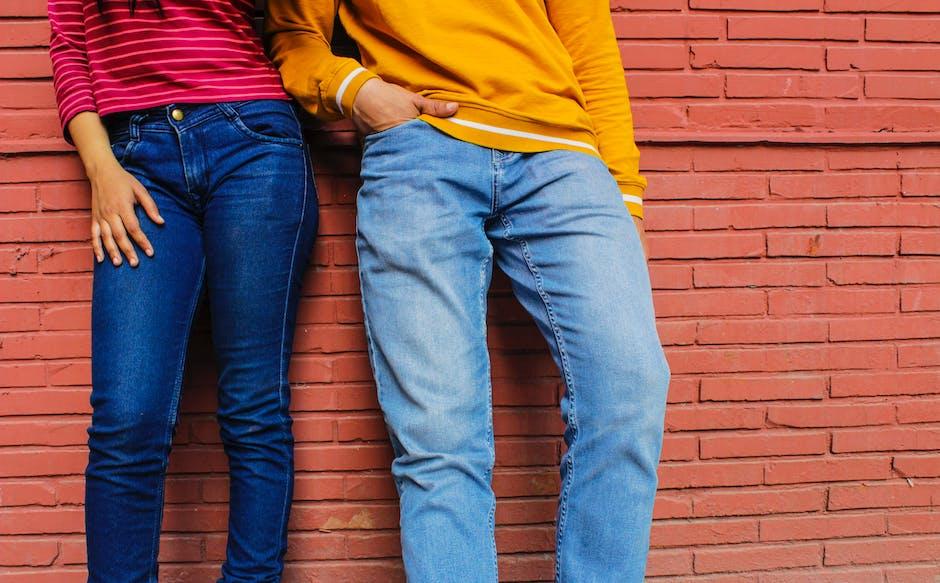 Two people blue denim jeans