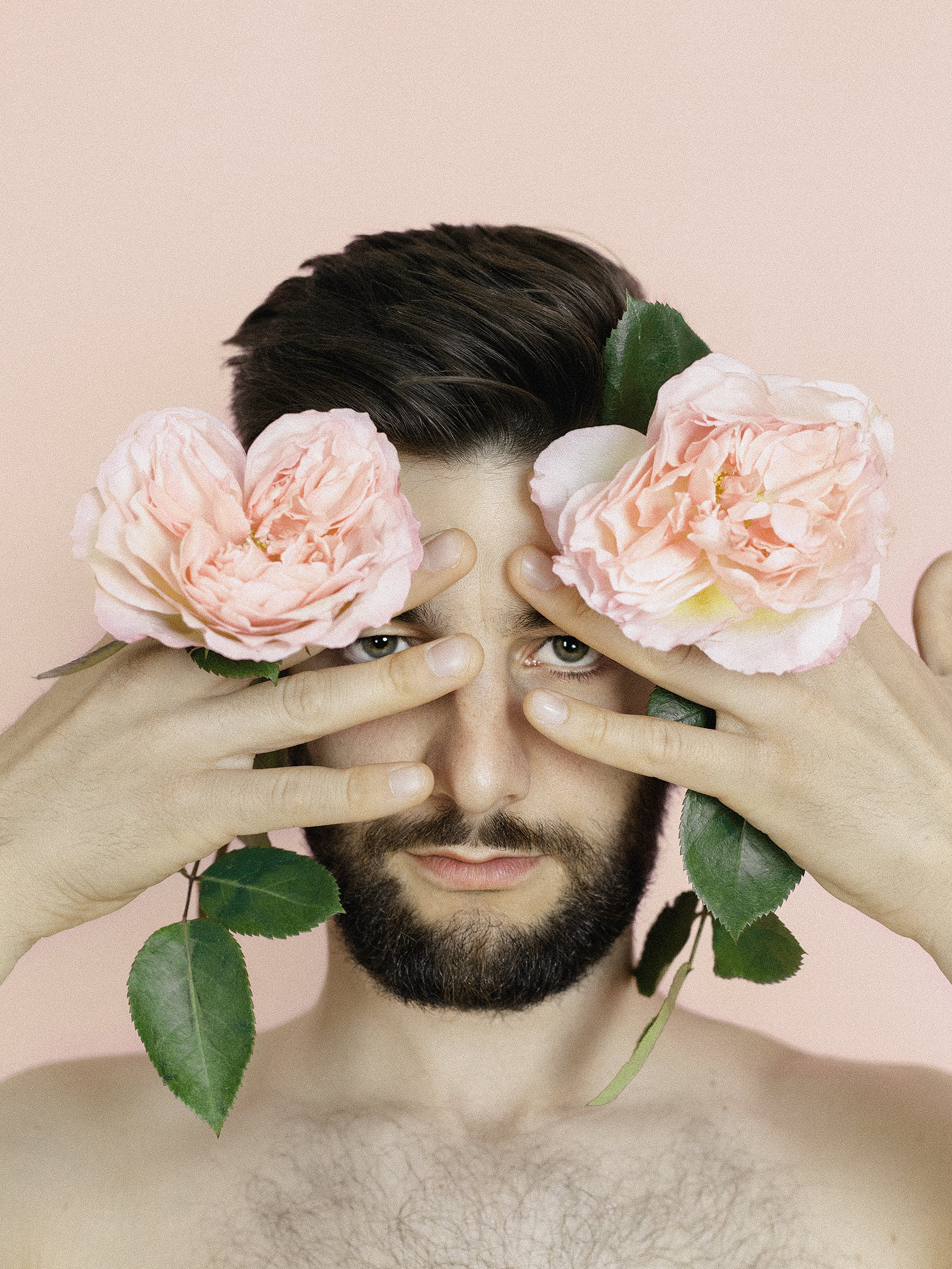 Man Holding Two Pink Flowers