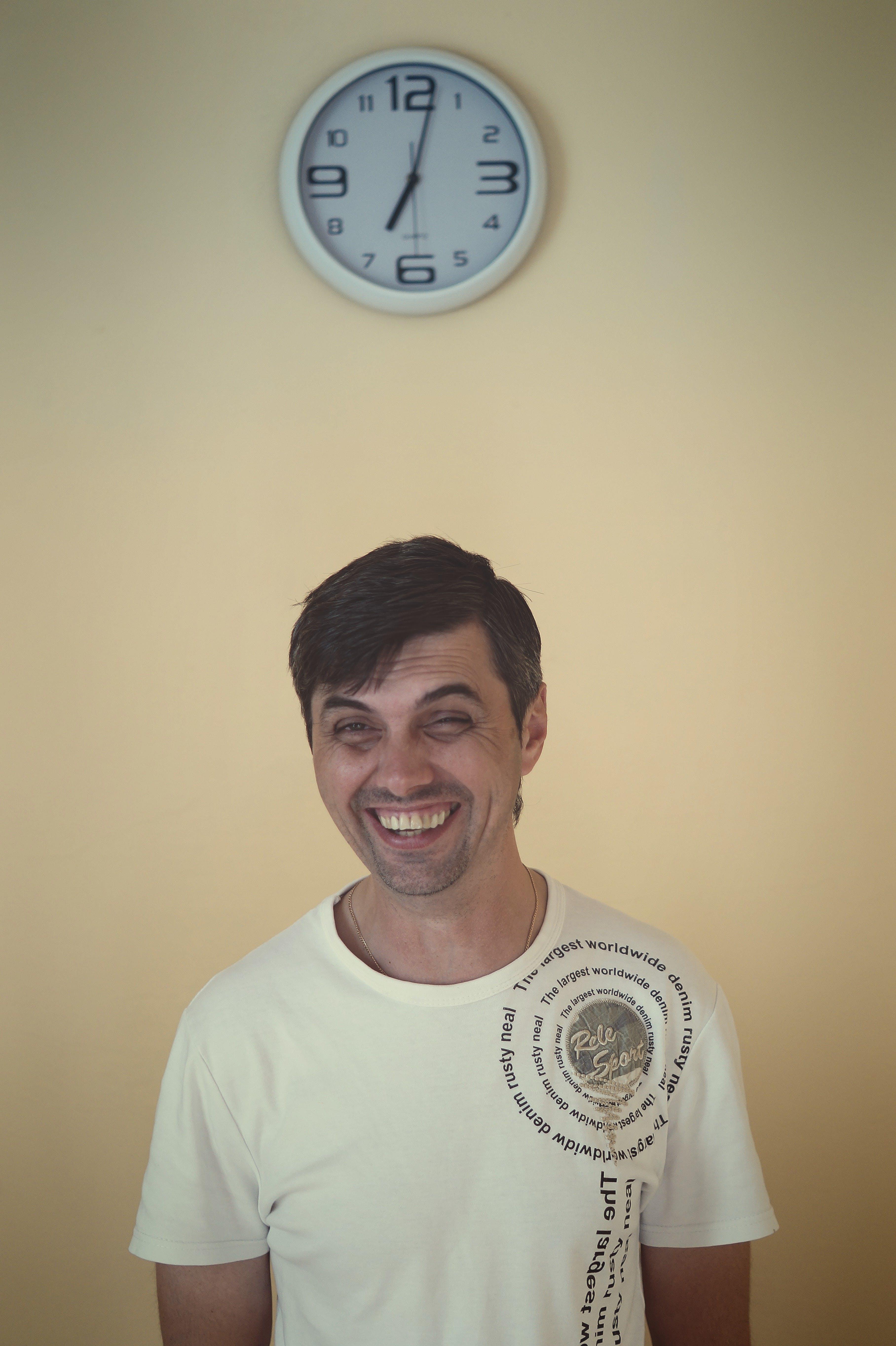 Free stock photo of clock, fun, laughing, man