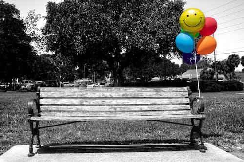 Бесплатное стоковое фото с скамья в парке, улыбаться, цвет, черно-белый