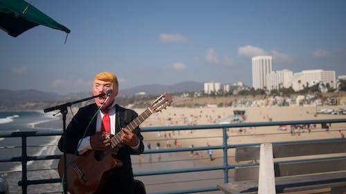 吉他, 海灘, 街头艺人 的 免费素材照片