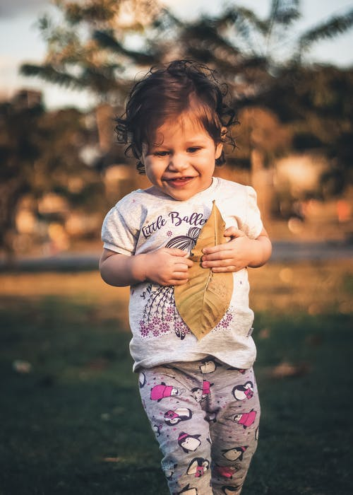 Girl Holding Brown Dry Leaf