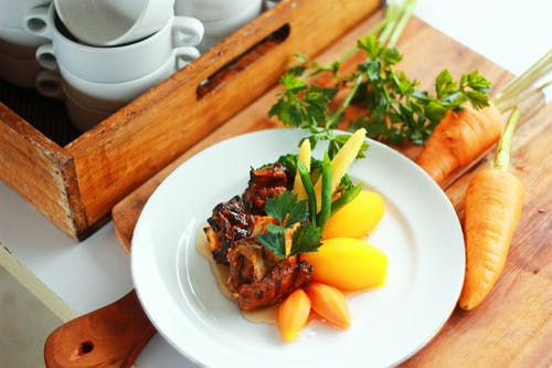 Brown Carrots and Cooked Meat