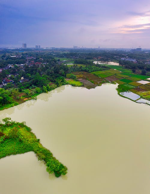 High View of Brown Water Surface, Green Lands, and Houses
