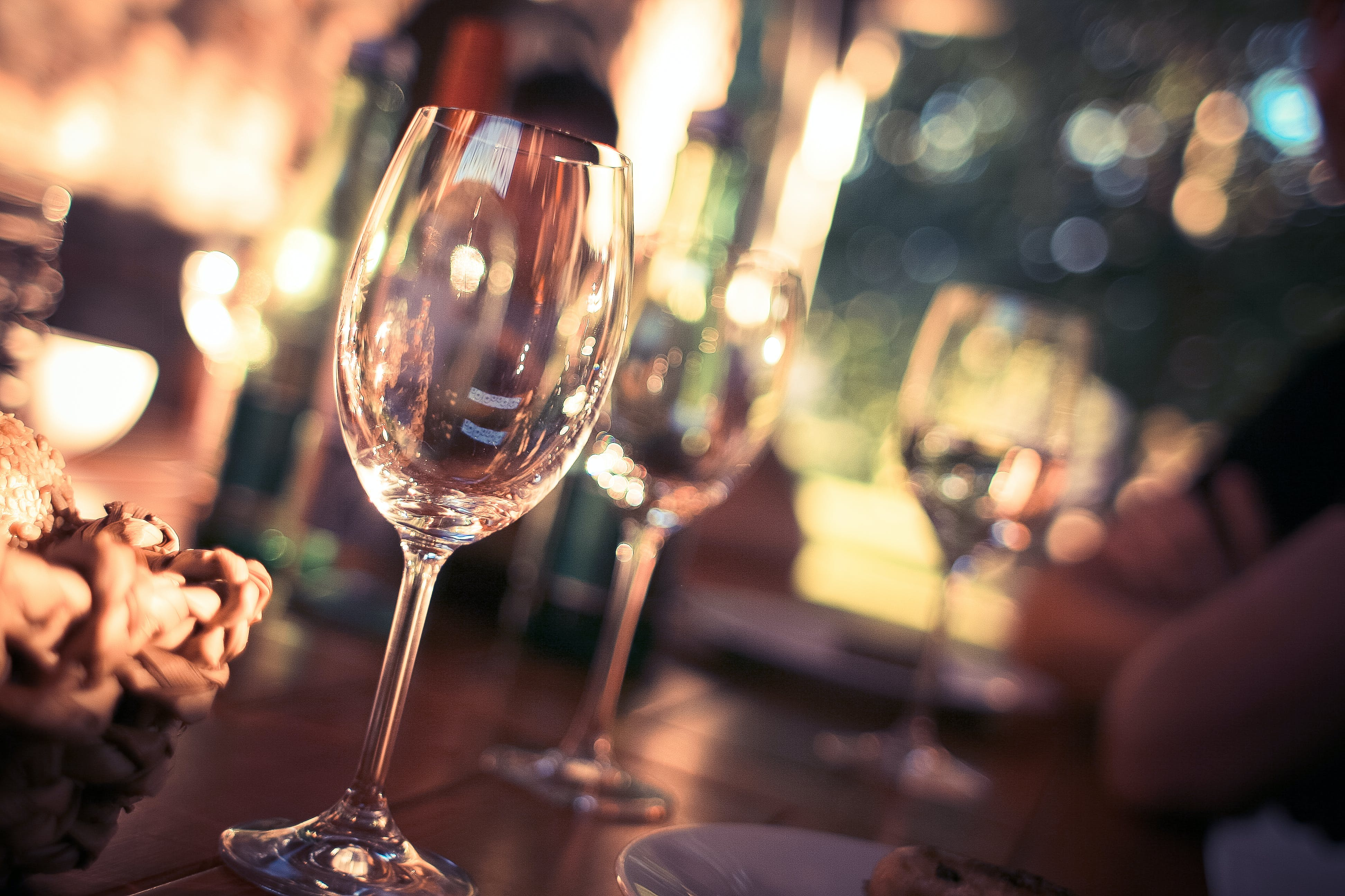 Wine Glass on Restaurant Table