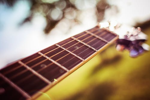Selective Focus Photography of Brown Guitar Bridge