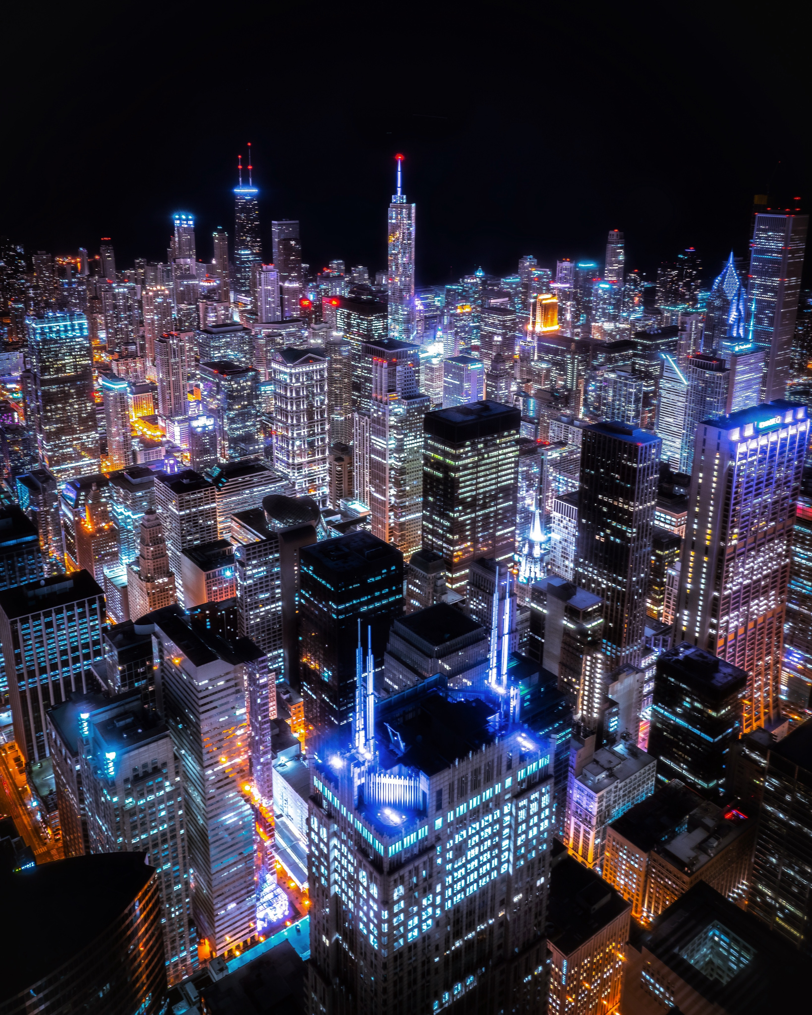 Aerial View Of City Buildings At Night · Free Stock Photo