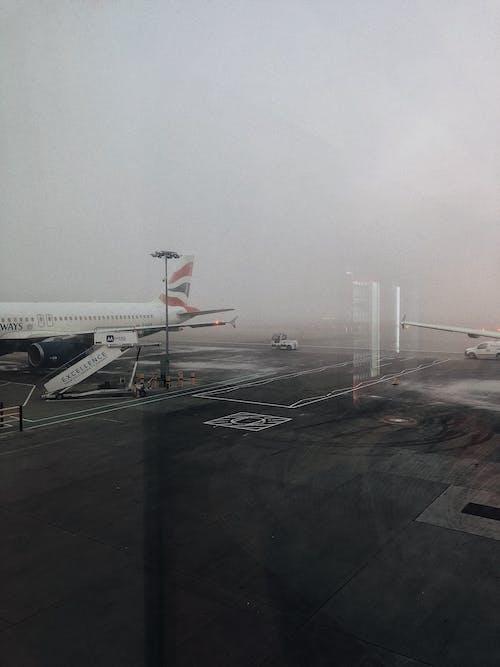 Foto d'estoc gratuïta de aeroport, amb boira, asfalt, avió