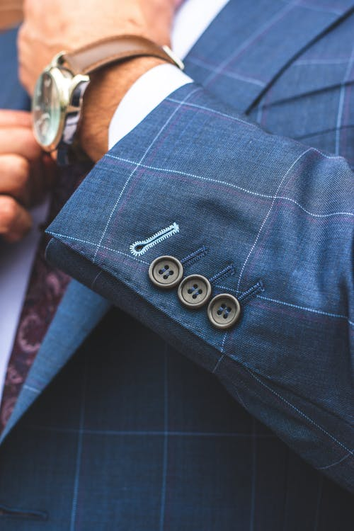Man Wearing Blue Designer Suit