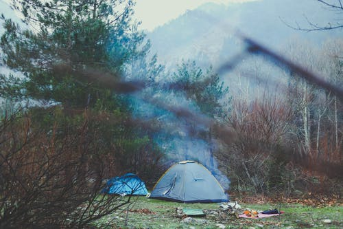 Gray and Blue Camping Tents