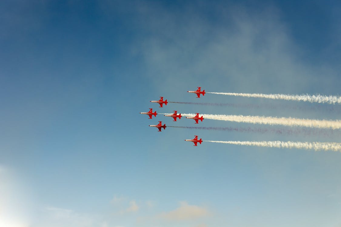 Red Planes Performing Airshow