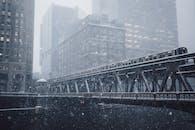 Gray Metal Bridge during Winter Season