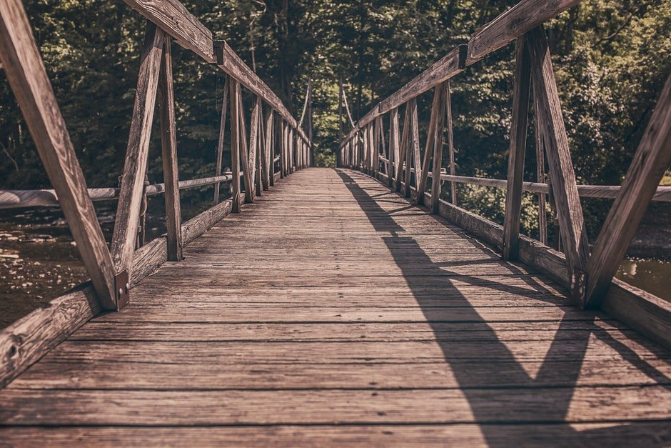 bridge, footbridge, path