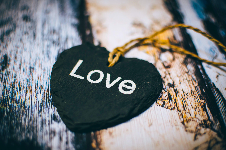 Black and White Heart Shape Wooden Pendant