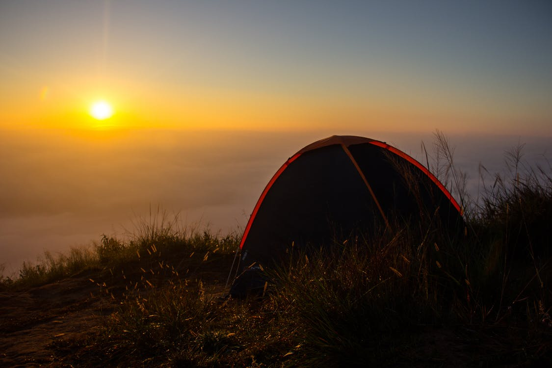 auringonnousu, mökki, vuori