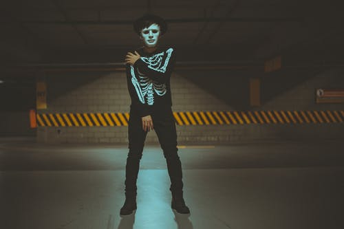 Standing Man Wearing Skeleton Costume on Dimmed Lighted Area