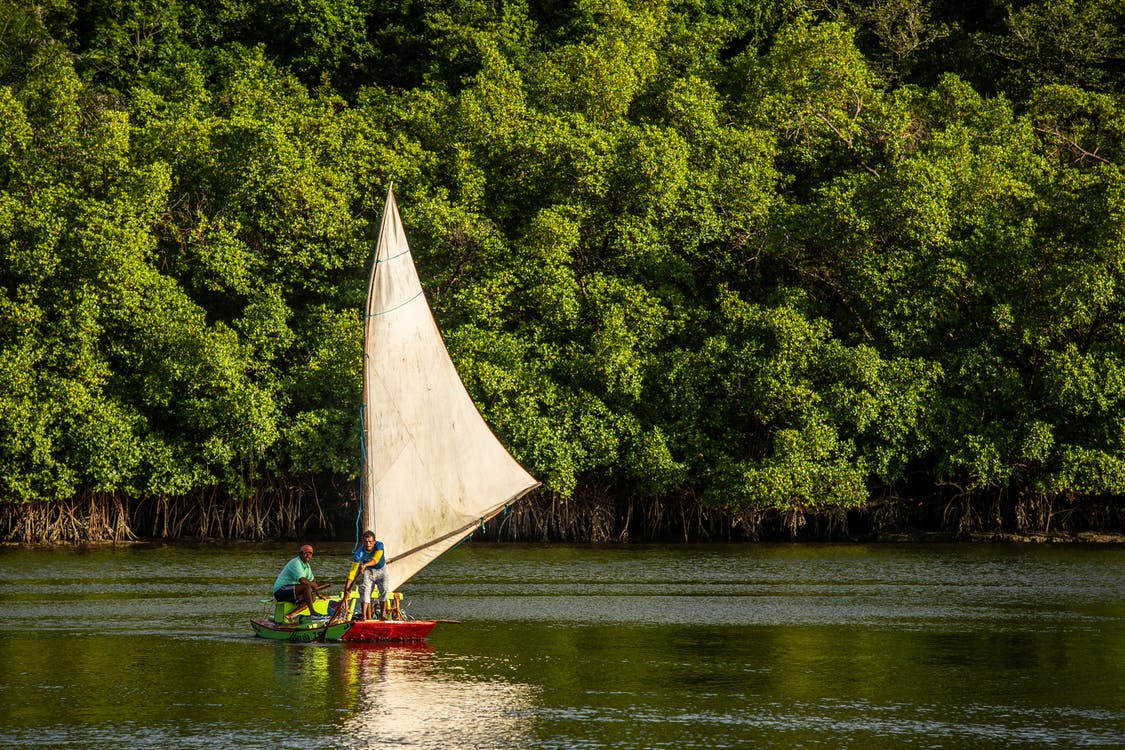 Men in Red and Green Sailboat