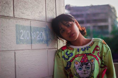 Woman Wearing Multi-coloured Crew-neck Shirt