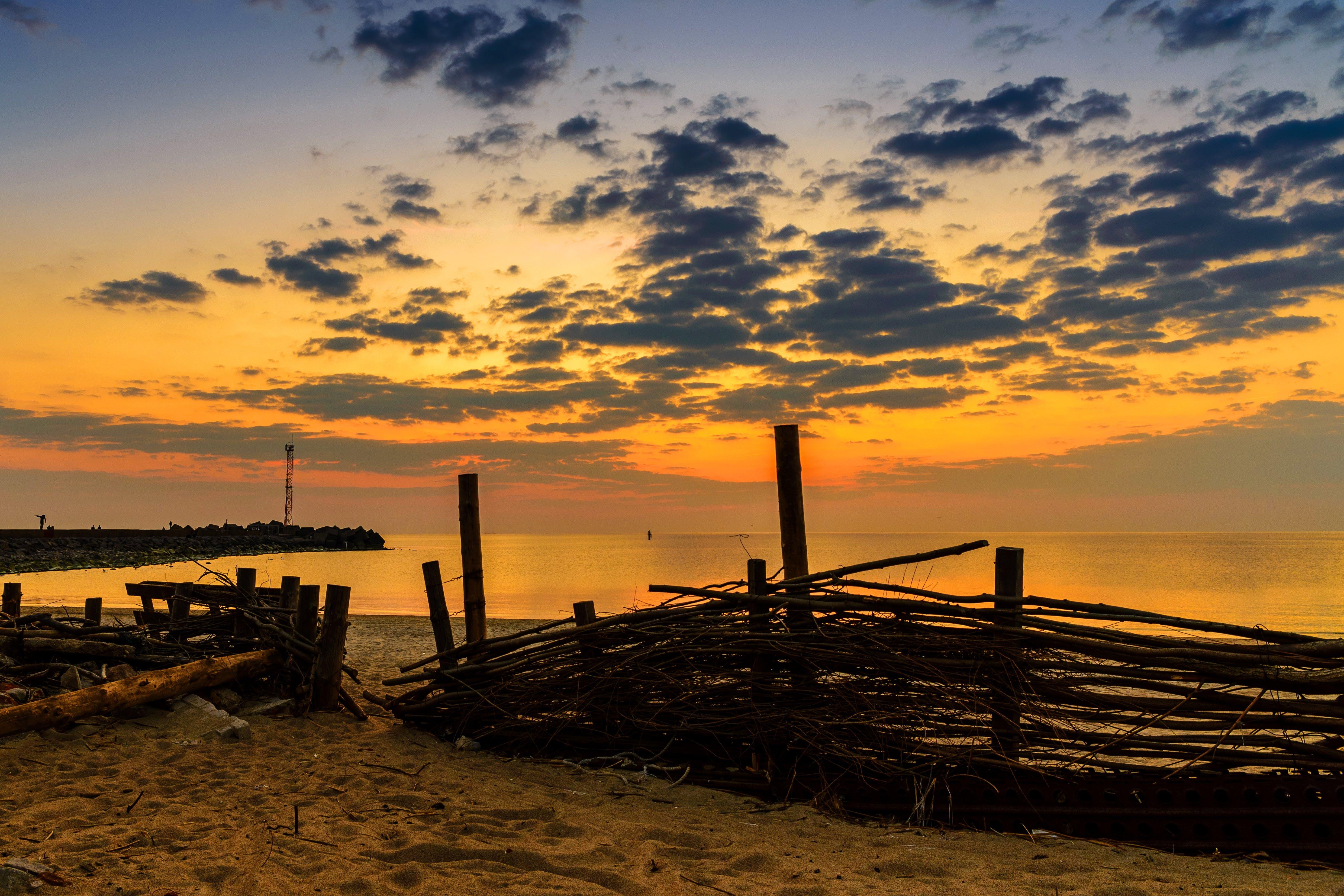 Základová fotografie zdarma na téma moře, pláž, příroda, západ slunce