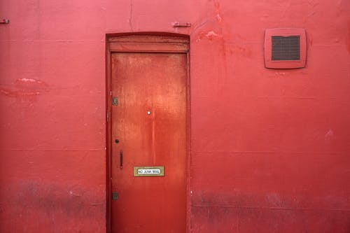 Closed Red Steel Door
