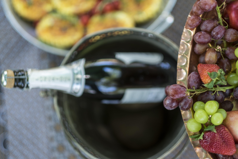 Wine In Bucket Under Fruit Tray