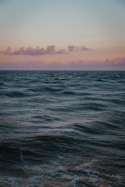 волны, горизонт, длинная экспозиция
