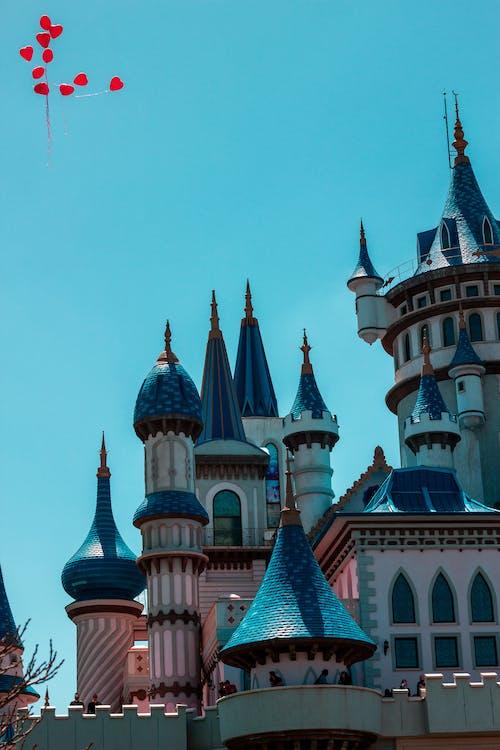 blau, castell, cel