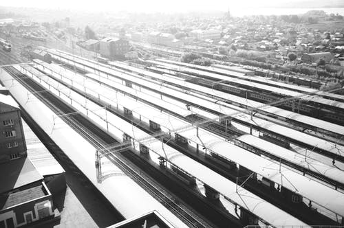 Free stock photo of black and white, city, railway lines