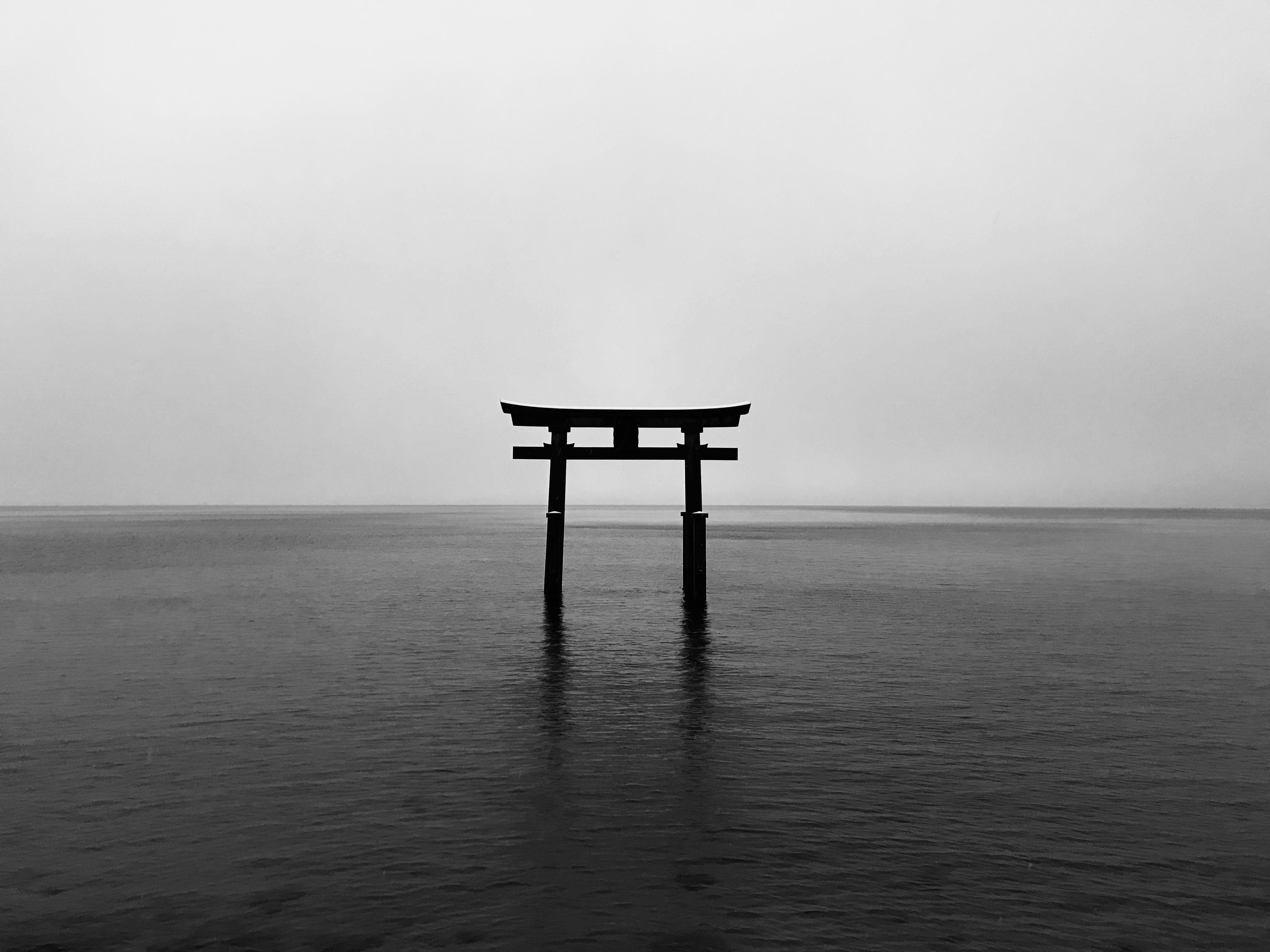 Základová fotografie zdarma na téma černobílá, denní světlo, horizont, malebný