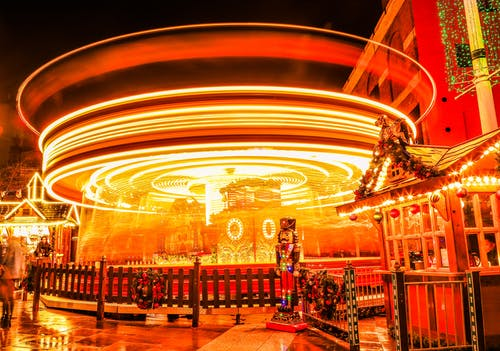 Free stock photo of carousel, night