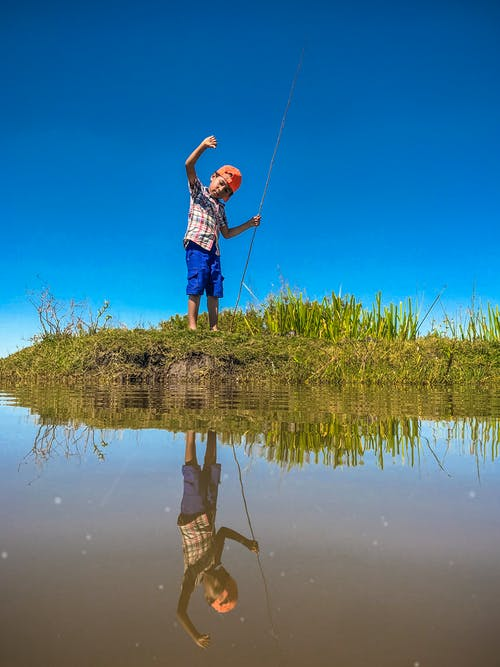 Free stock photo of blue sky, blue water, boy
