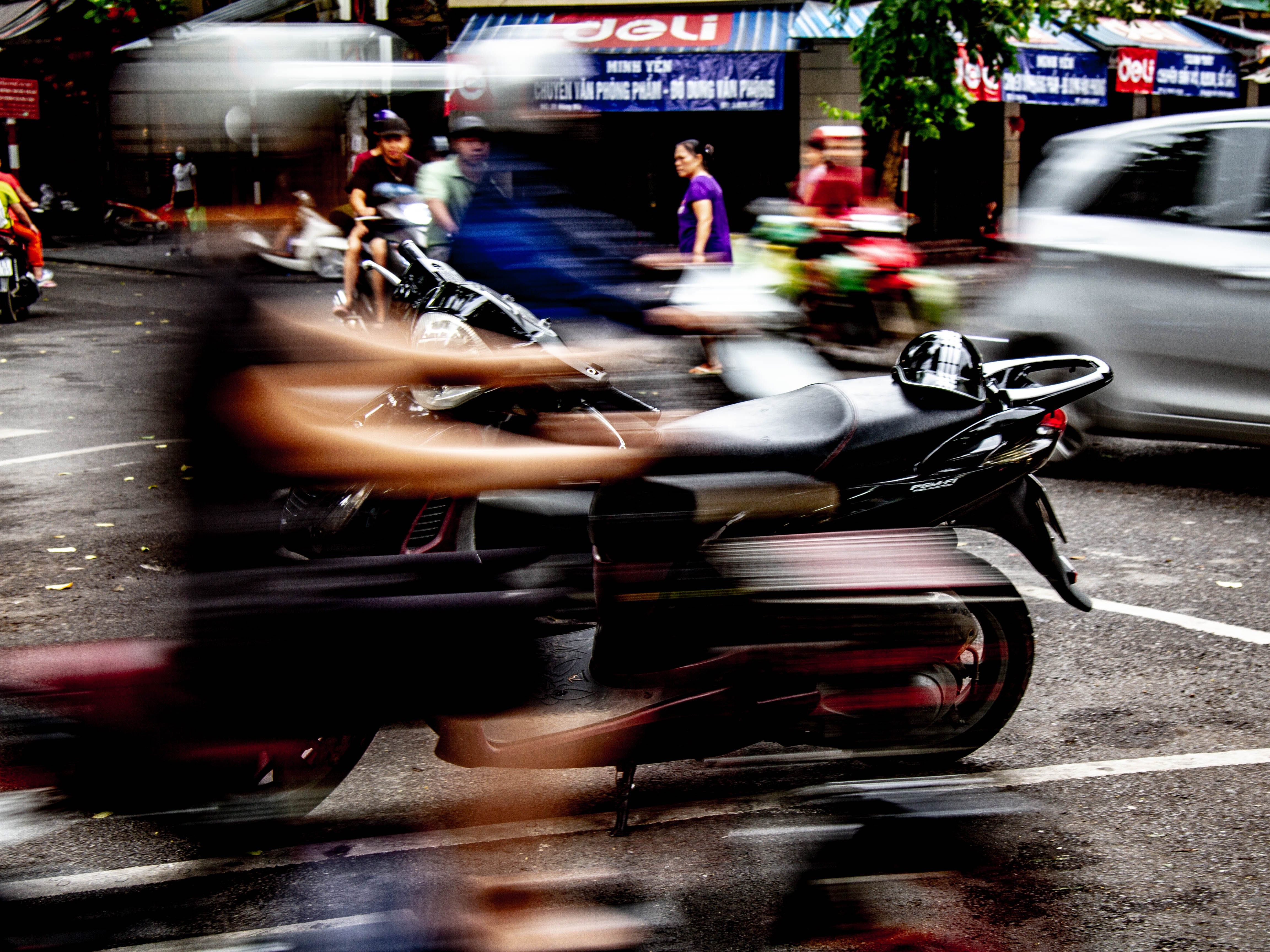 Free stock photo of motion, motor scooter, motor scooters, panning