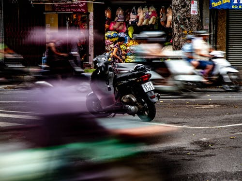 Free stock photo of motor scooter, motor scooters, panning, scooters