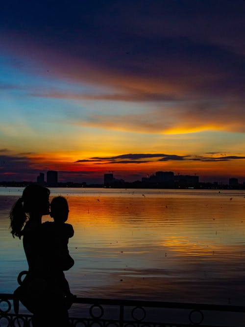 Free stock photo of mother, silhouette, sunset, vietnam
