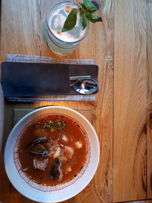Gratis lagerfoto af asiatisk mad, fisk og skaldyr, glas, limonade