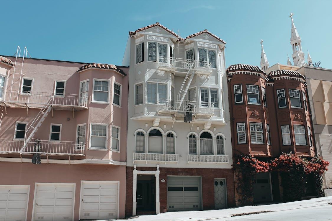 architettura, balconi, casa bianca
