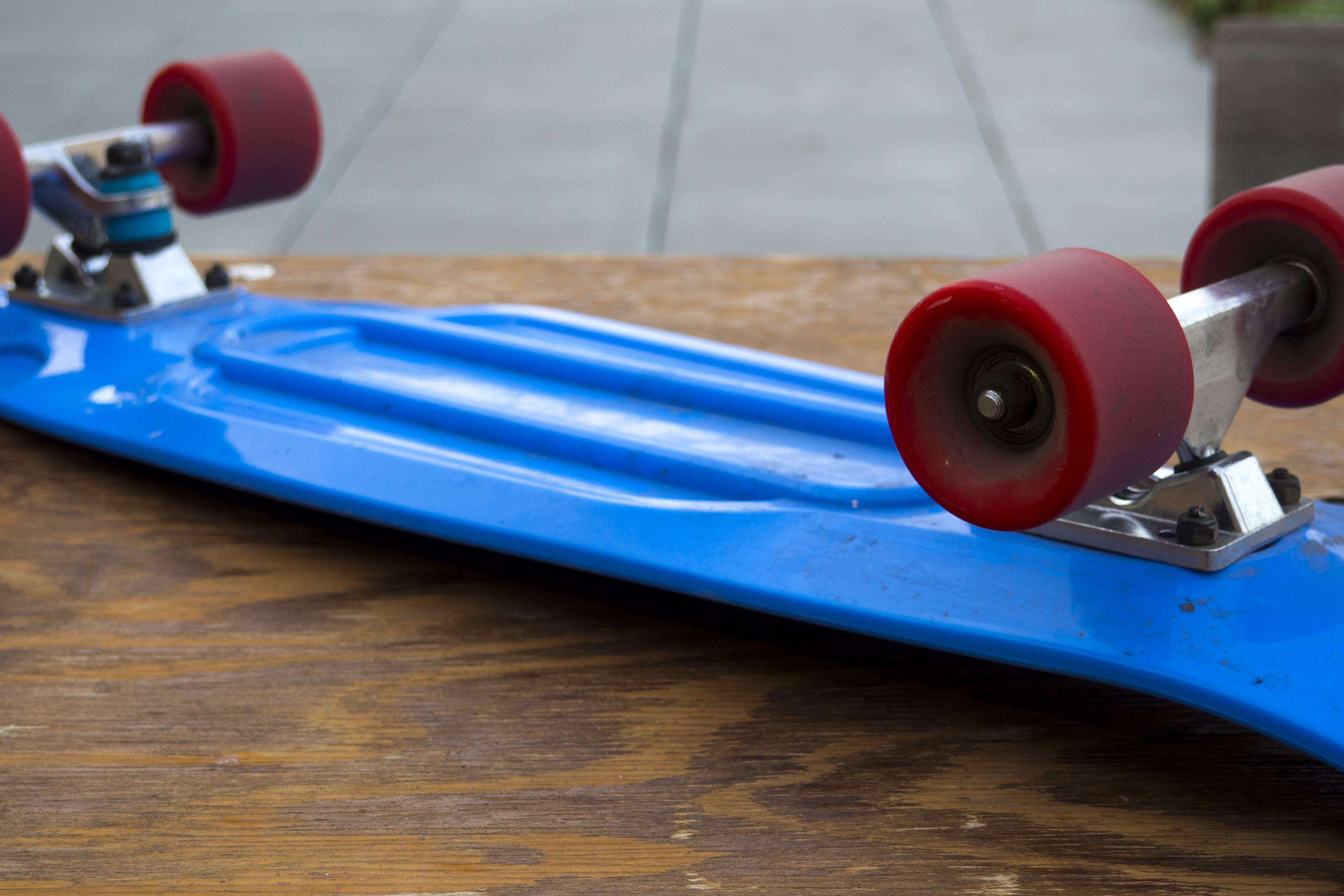 Free stock photo of blue, board, longboard, red