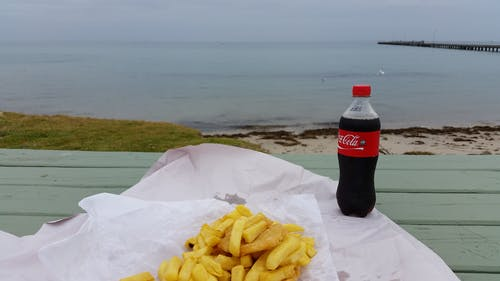 Free stock photo of beach, coke, fish and chips