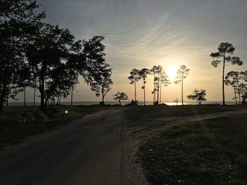 Foto profissional grátis de estrada de terra, pôr do sol