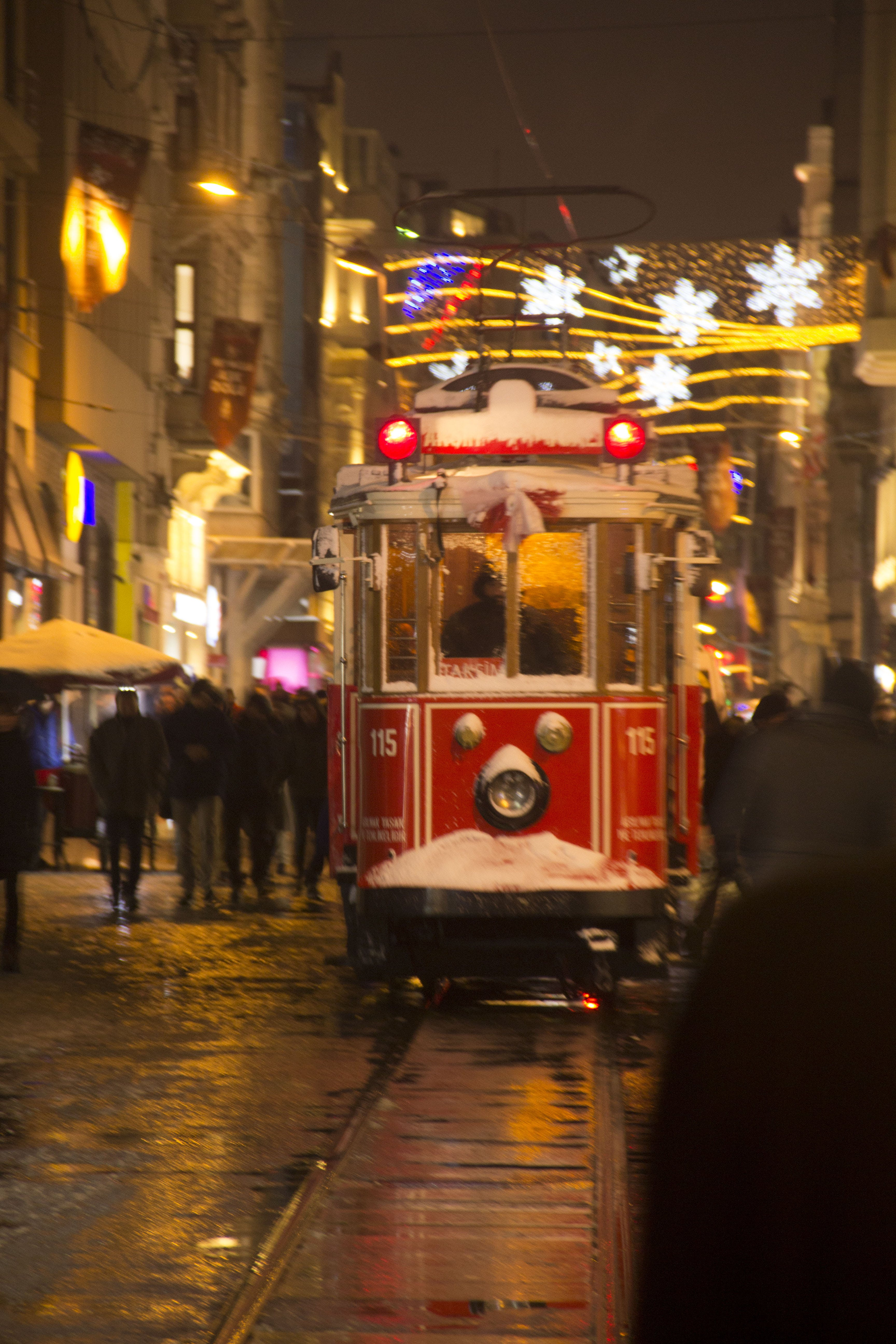 Free stock photo of istiklal, night, red, street