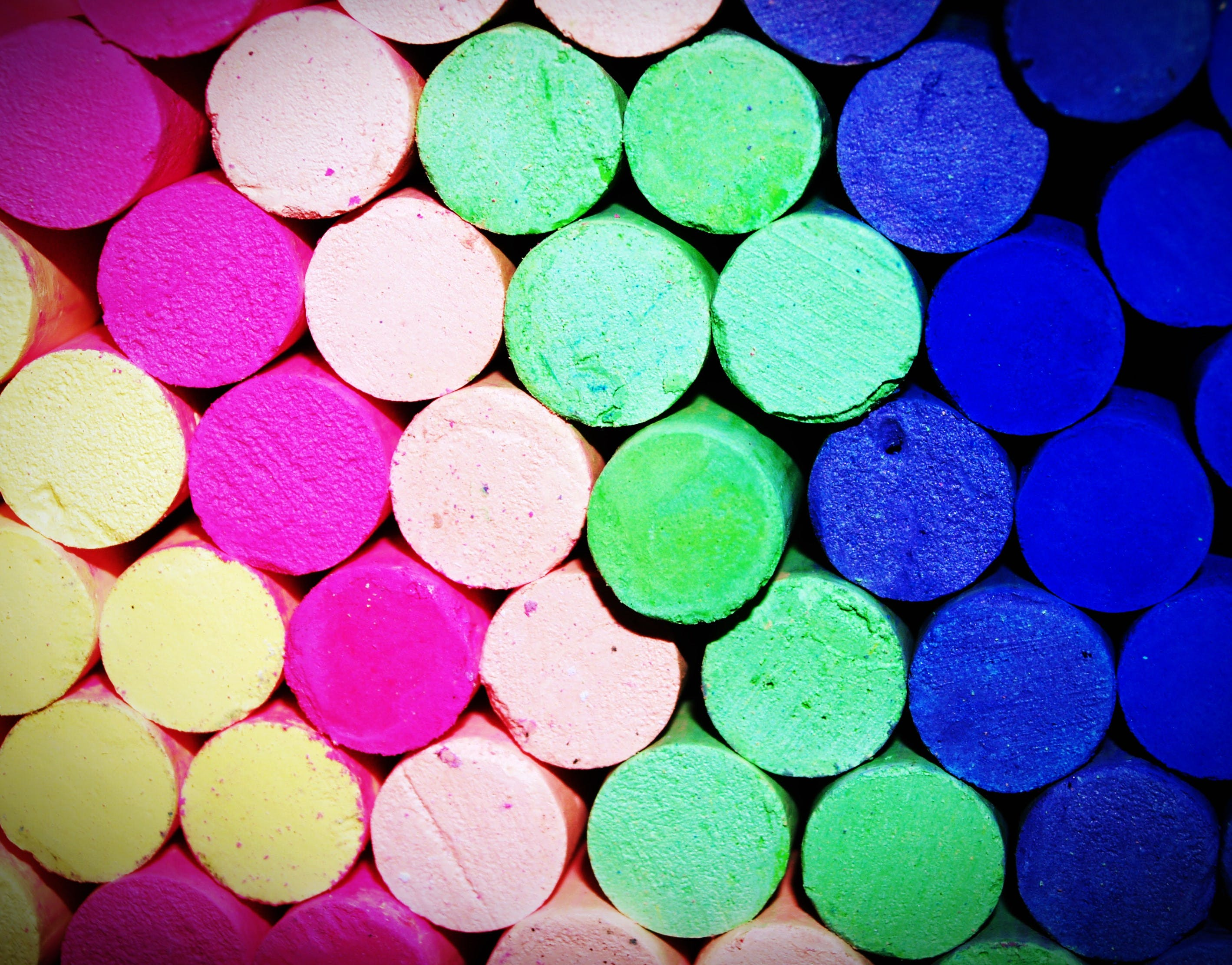 Assorted-color Pile of Chalk in Close-up Photo