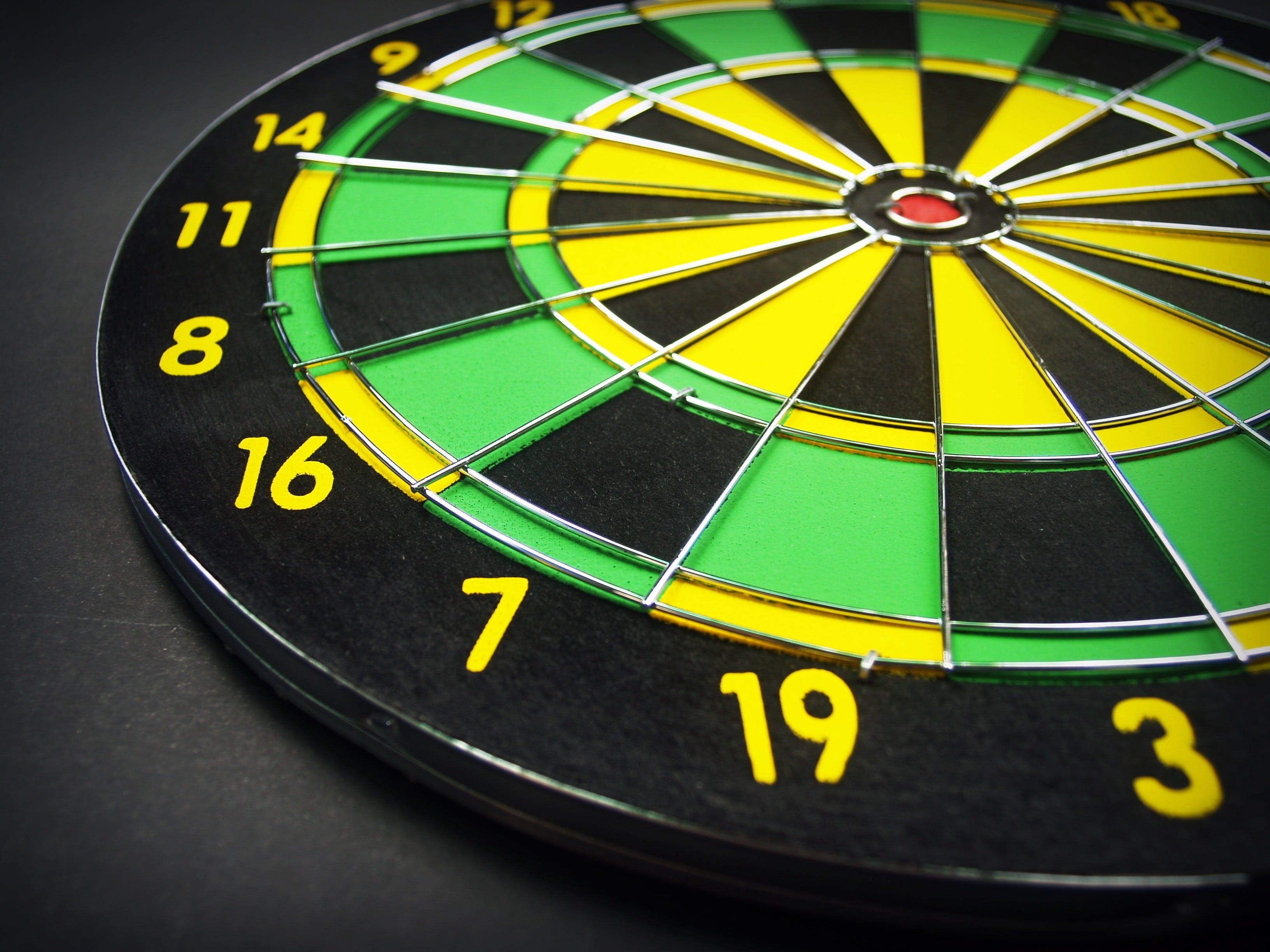 Green Yellow and Black Dartboard