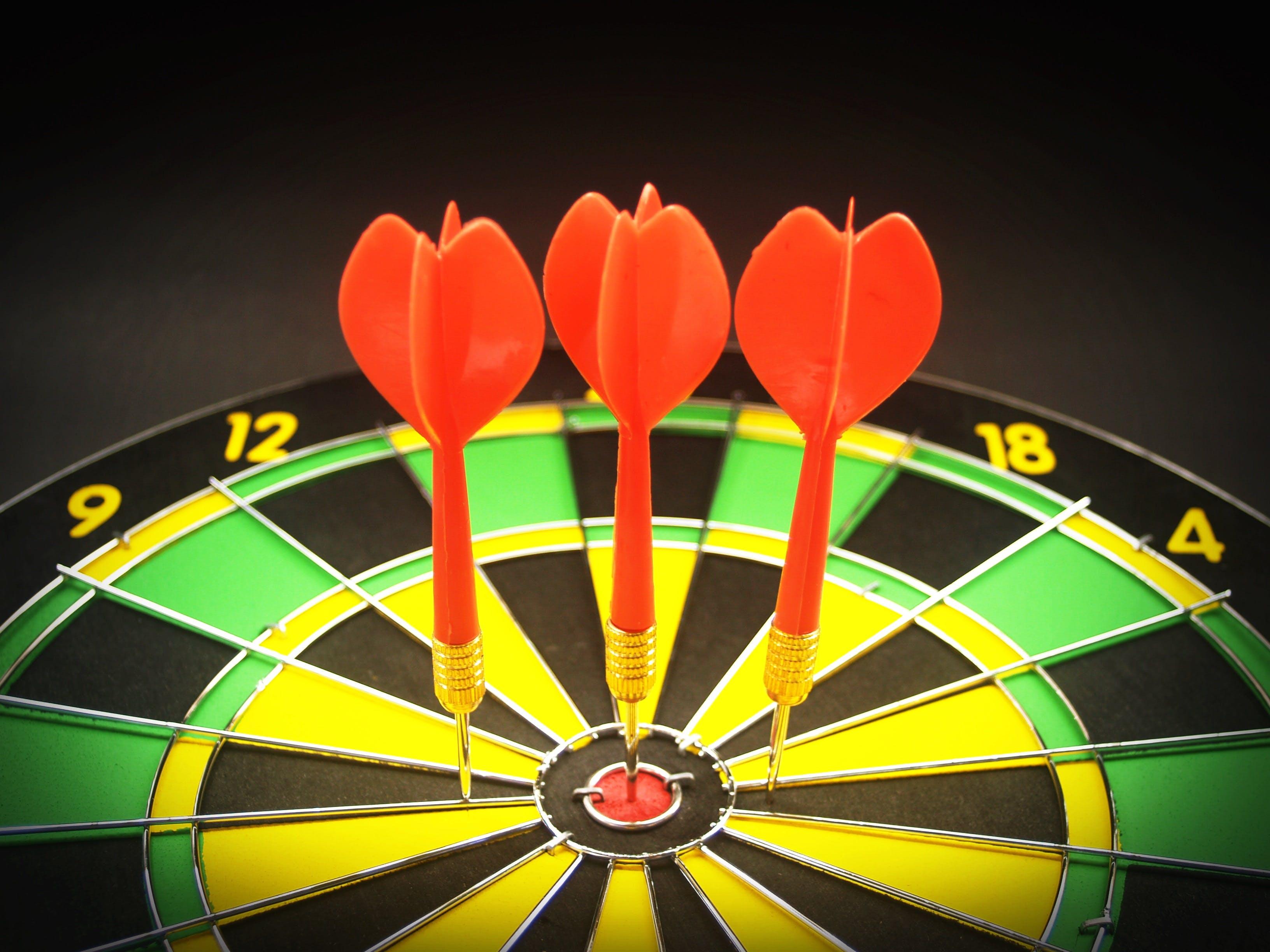 Gratis lagerfoto af close-up, dart, dartskive, fokus