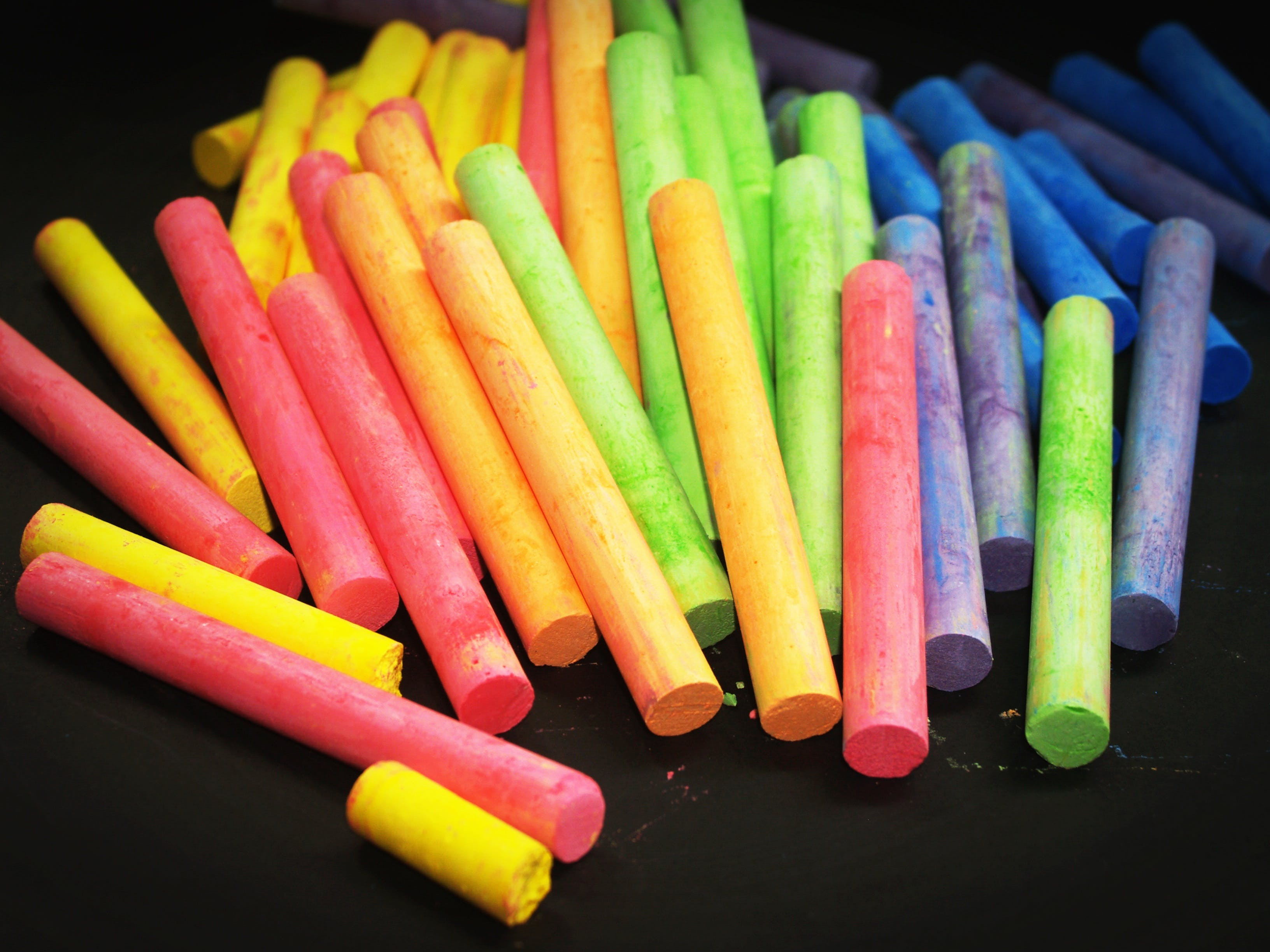 Pink Yellow Green and Blue Chalk