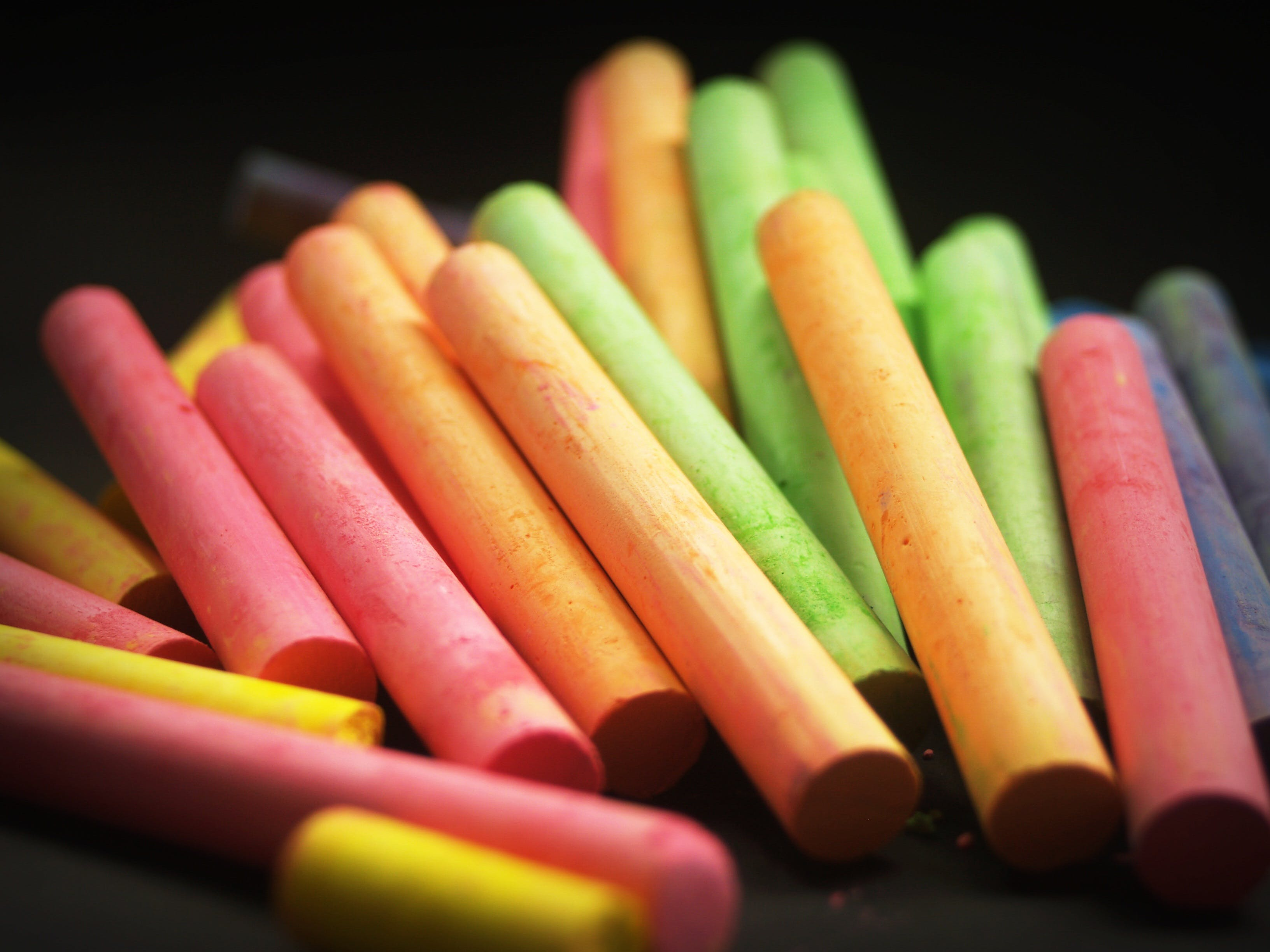 Orange Red and Green Piled Up Chalk