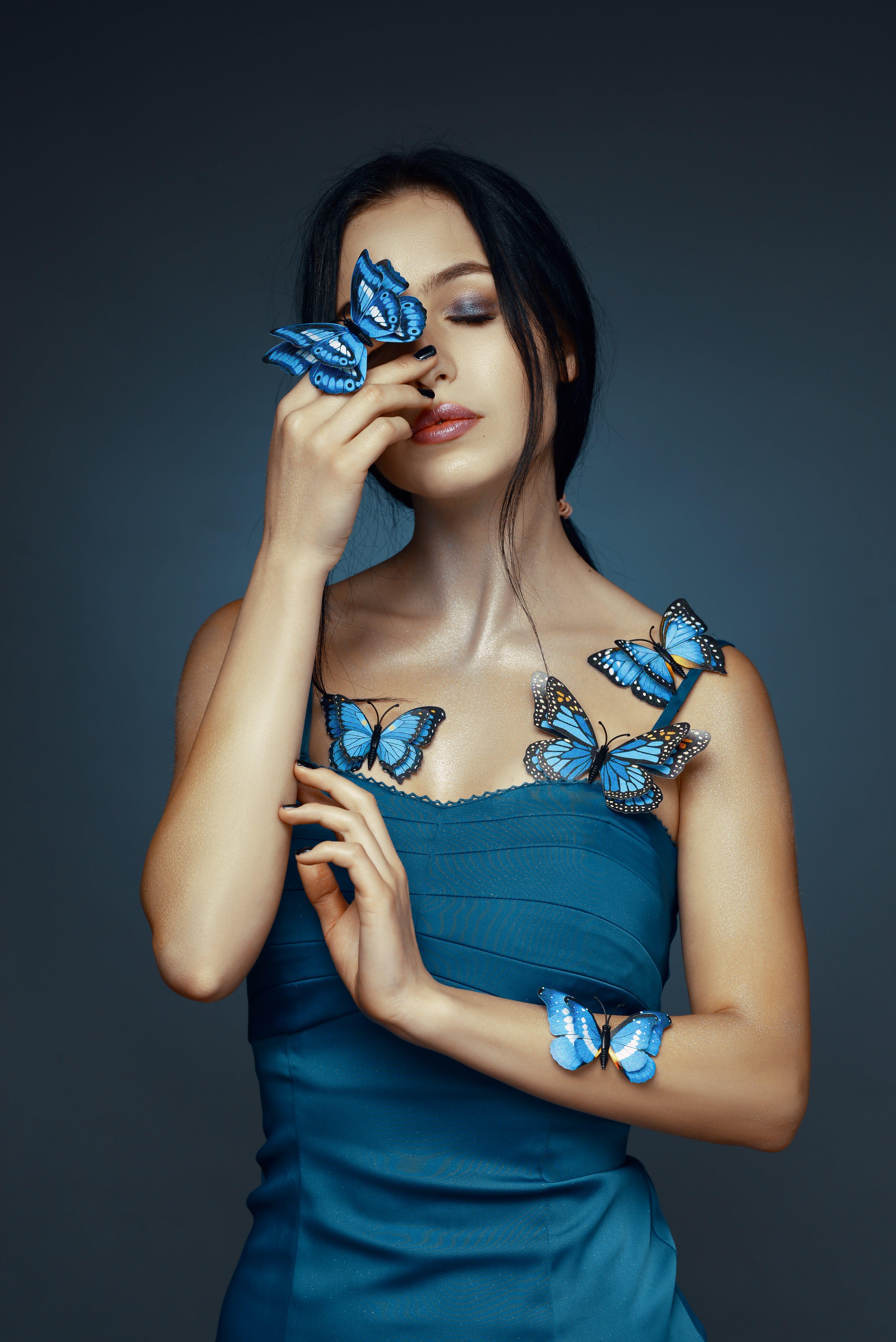 Foto profissional grátis de atraente, azul, beleza, bonita