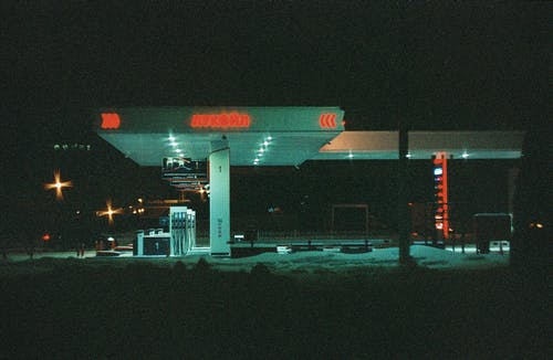 Lighted Gas Station