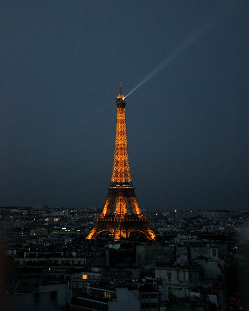 Lighted Eiffel Tower at Nighttime